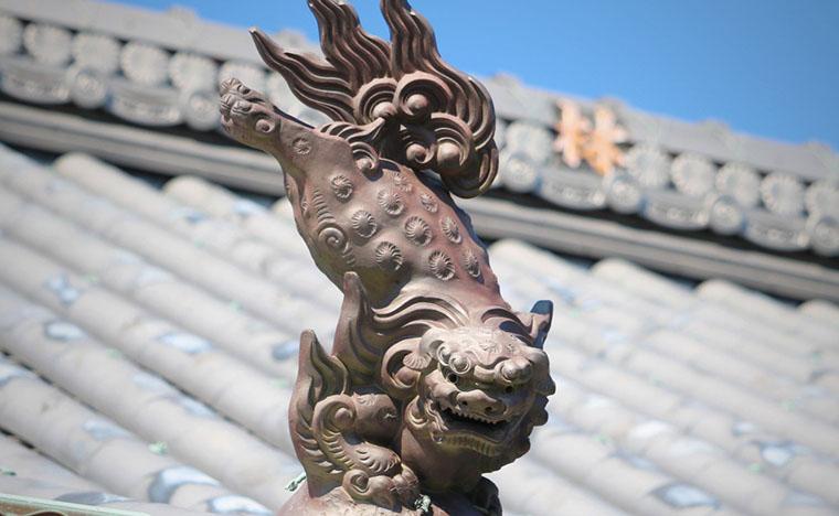 寺を見守る狛犬さん
